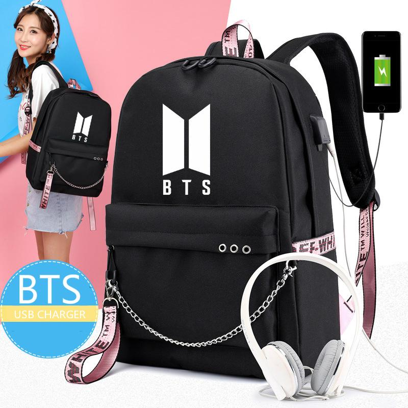 USB Backpack Bangtan Boys BTS Shoulder Bag Charging Students Backpack School Bag Chain