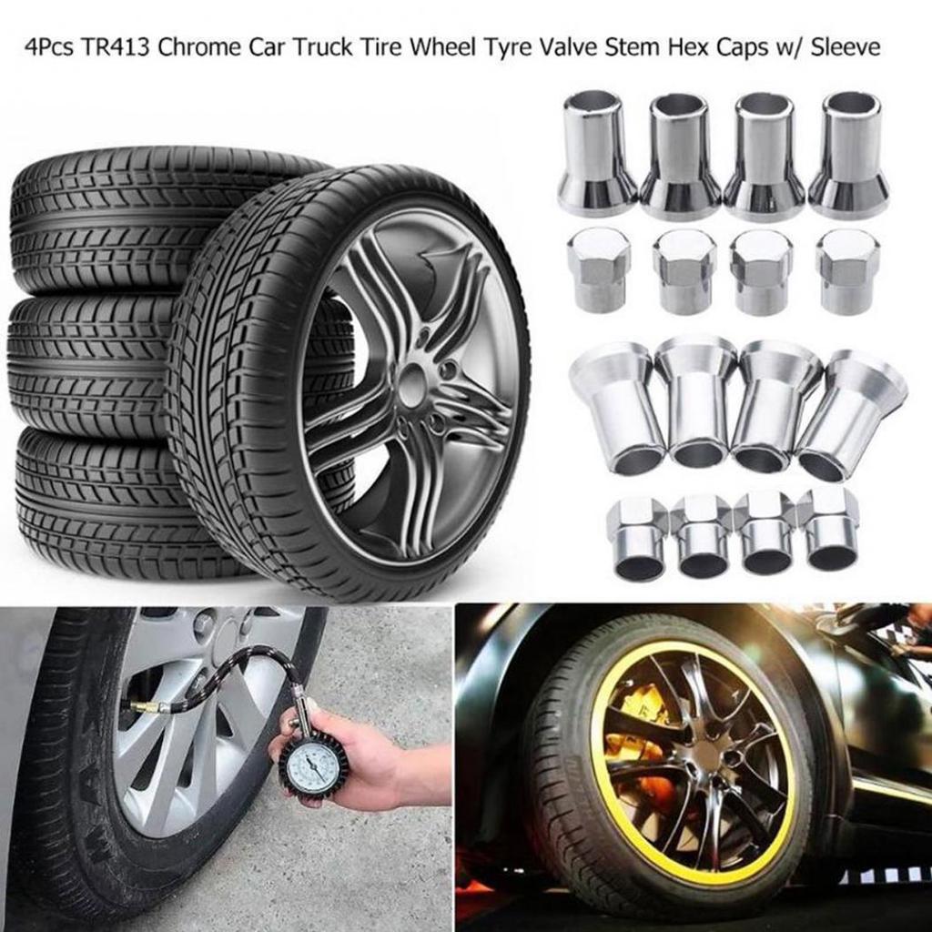 4X Aluminium Car Wheel Tire Tyre Valve Stems Hex Caps Sleeve Cover Accessories