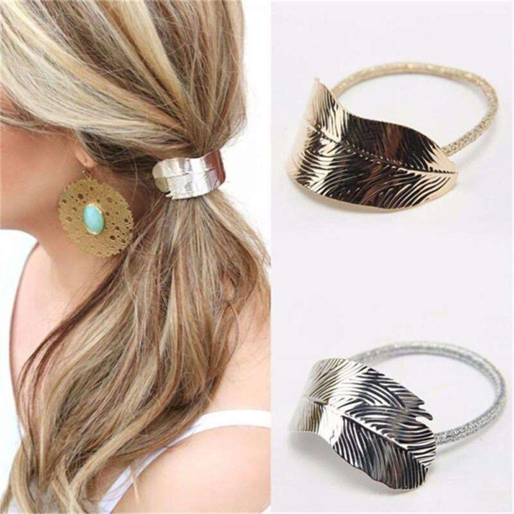 Serre tête femme caoutchouc feuille forme cheveux corde Hair Band Ponytail  Holder