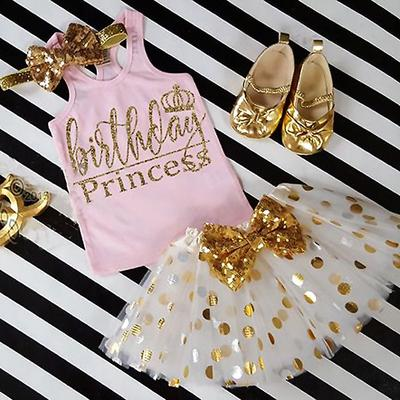 Baby Girls Fashion Cute Princess Crop Top Blouse + Tulle Lace Polka Dot Skirts 2Pcs Outfits