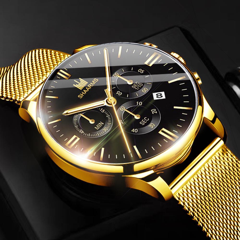 Мужские часы Модные роскошные кварцевые часы Сетчатый пояс из нержавеющей стали Мужские повседневные спортивные часы – купить по низким ценам в интернет-магазине Joom
