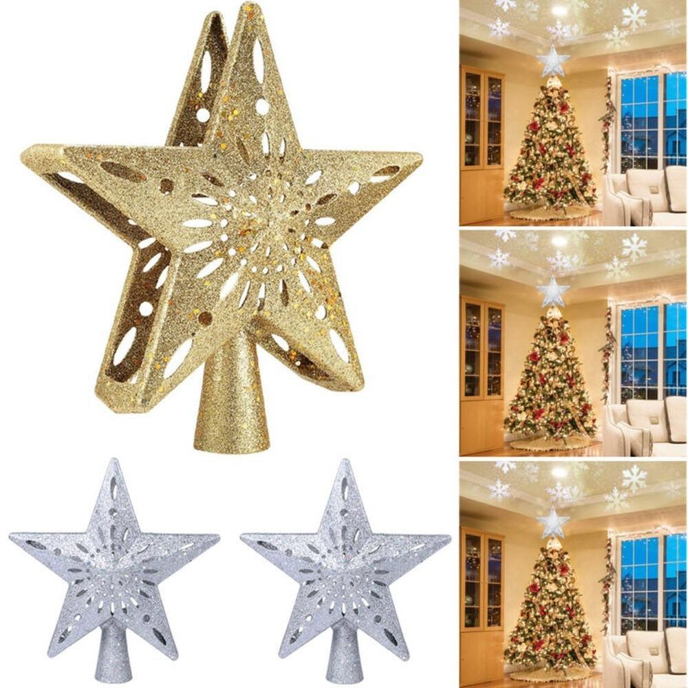6pcs Christmas Tree Decoration 3D Snowflake Ice White Ornate Baubles