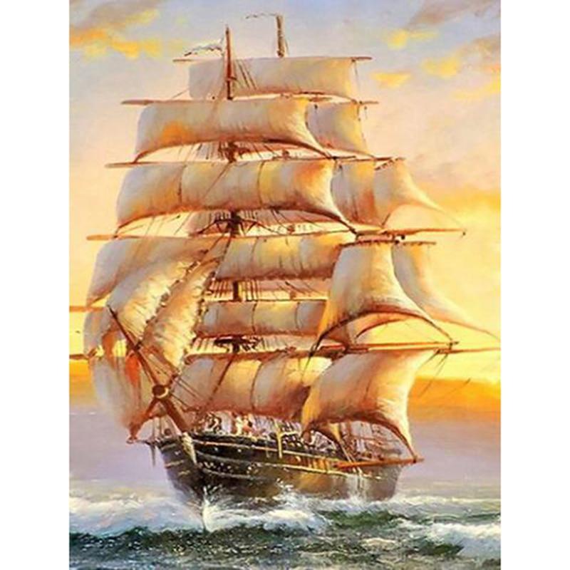 5D DIY Алмазная картина Парусная лодка вышивка корабль Пейзаж Картина Rhinestone Декор Главная