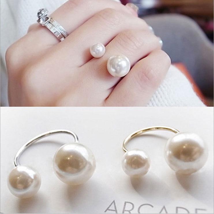 Кольцо открытых кольцо простой двойной Перл Кольцо фото