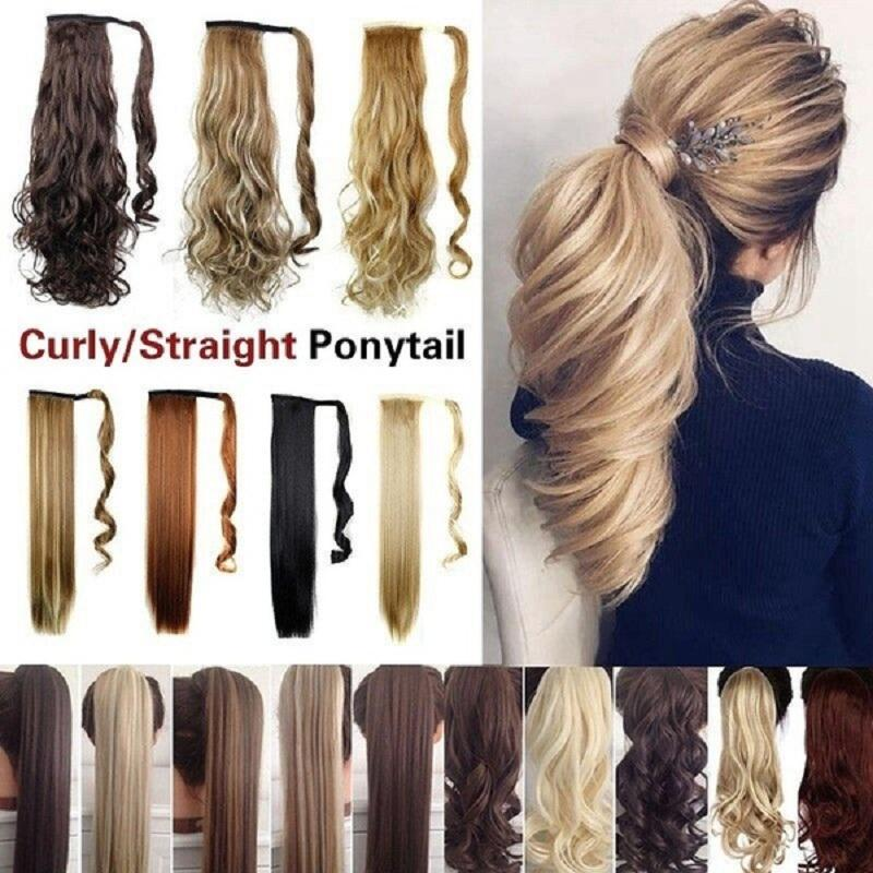 Curly/Straight Ponytail Hairpiece In As Real Human Hair Extensions Wrap Around Pony Tail
