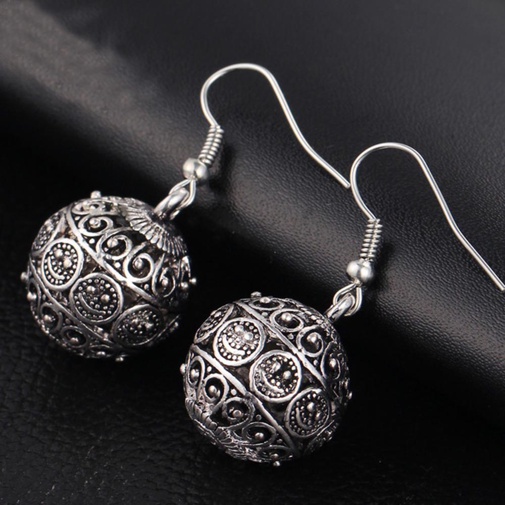Серьги на крючках Серебряного цвета Boho дырочку для женщин шик мяч крюк серьги фото