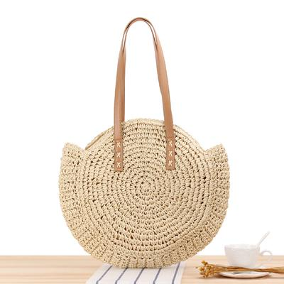 Women Craft Bamboo Basket Bag Circle Straw Beach Bag Female Round Summer Woven Rattan Handbags Shoulder Bags for Women