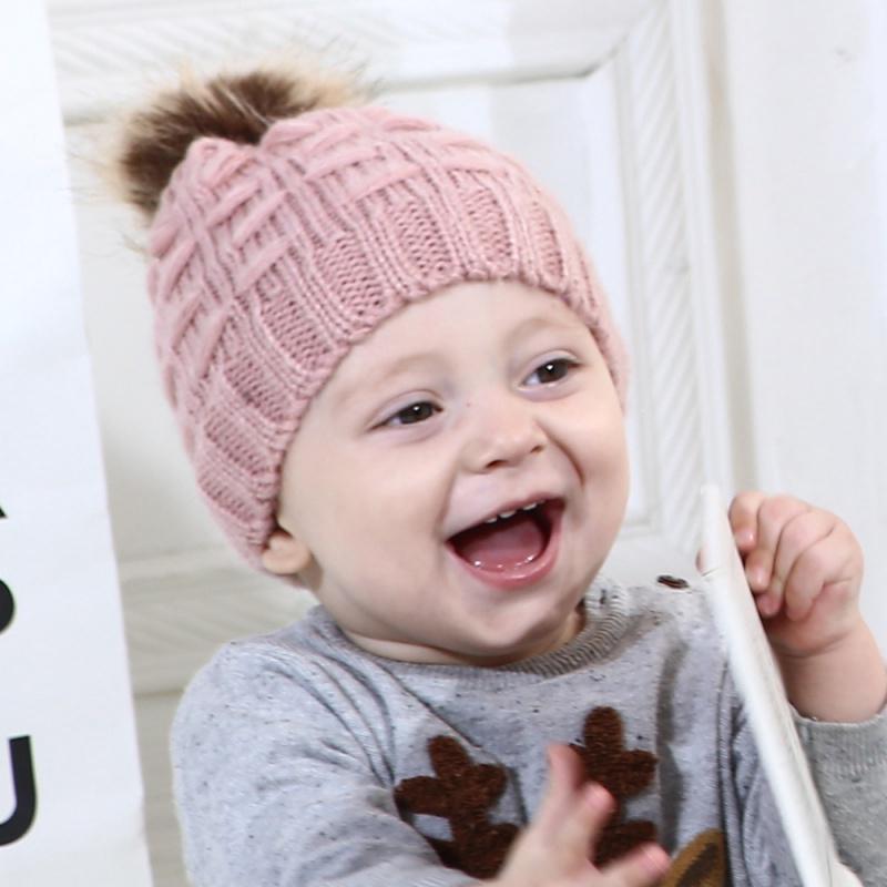 5a5fb9e0a Otoño invierno bebé niña niño moda algodón gorras con pompón cubren ...