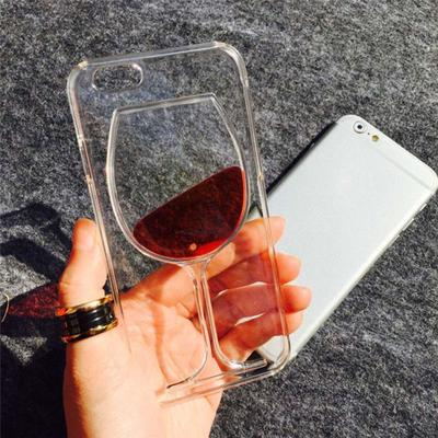 Fashion Liquid Quicksand Red Wine Glass Cup Transparent Case Cover For iPhone Samsung