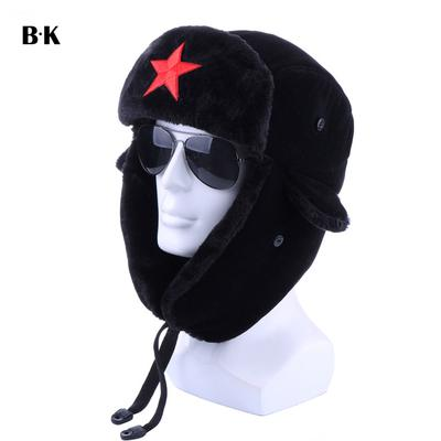 bde9a8e687e59 Men s Bomber Hats Red Star Military Plush Ushanka Army Pilot Trapper  Thermal Russia Earflap Snow