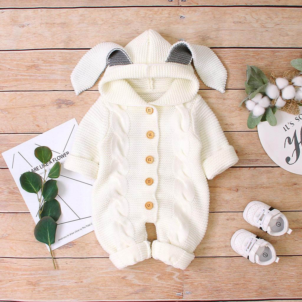 Toddler Infant Baby Boys Winter Warm Coat Knit Buttons Outwear Hooded Jumpsuit