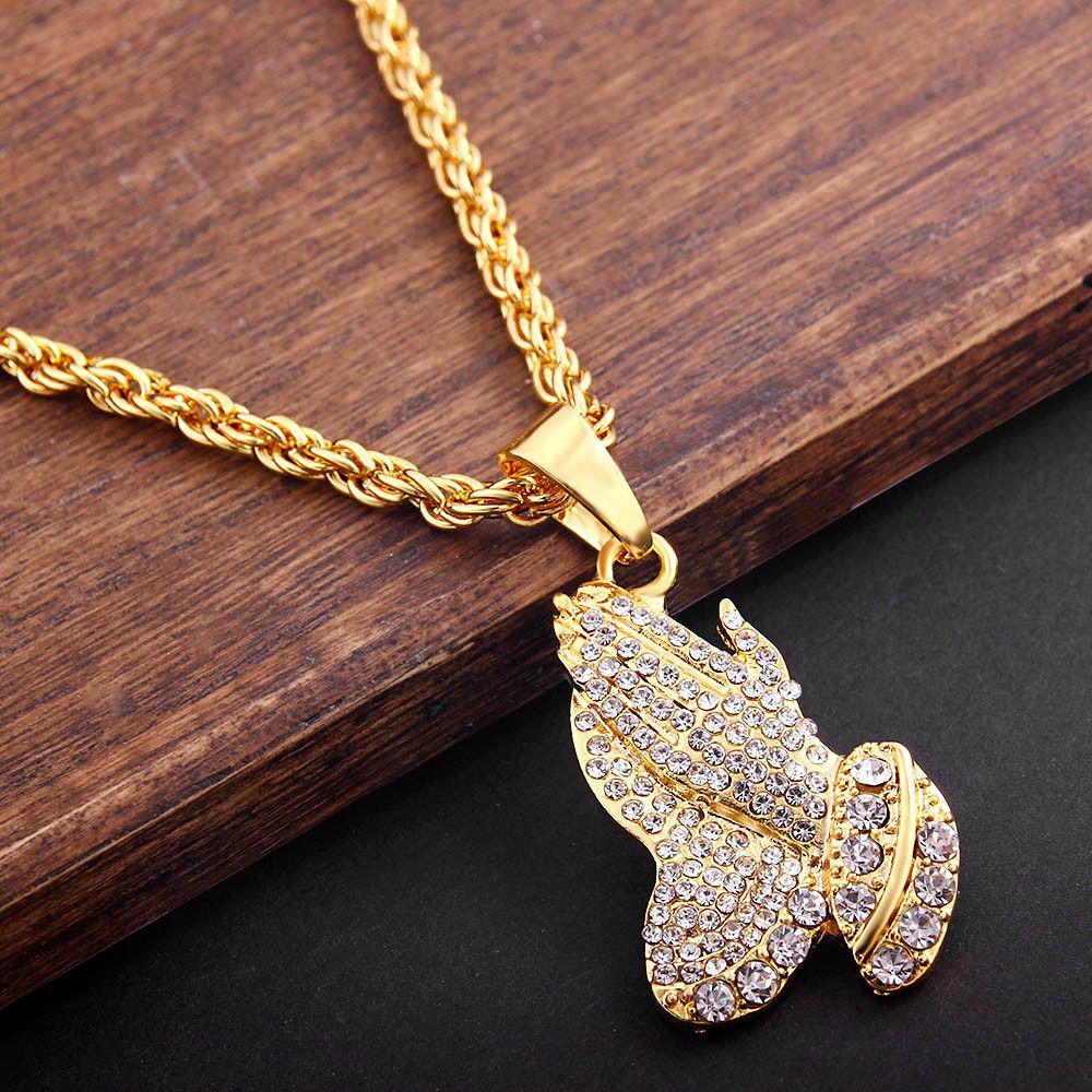 d46414e72cba1 Pendant necklace chain fashion metal inlaid men praying hands hip hop