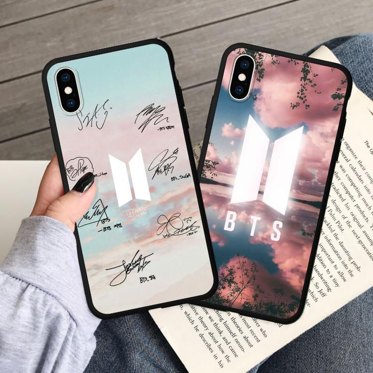 BTS LOGO Soft Mobile Case For iPhone 7/8 Plus For Samsung Galaxy A7 Huawei P/Y Series