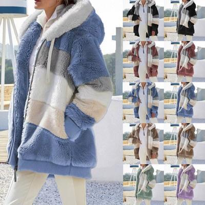 Winter Women's Fashion Hooded Warm Loose Jacket for Women Patchwork  Outerwear  Zipper Ladies Plus Size Sweaters