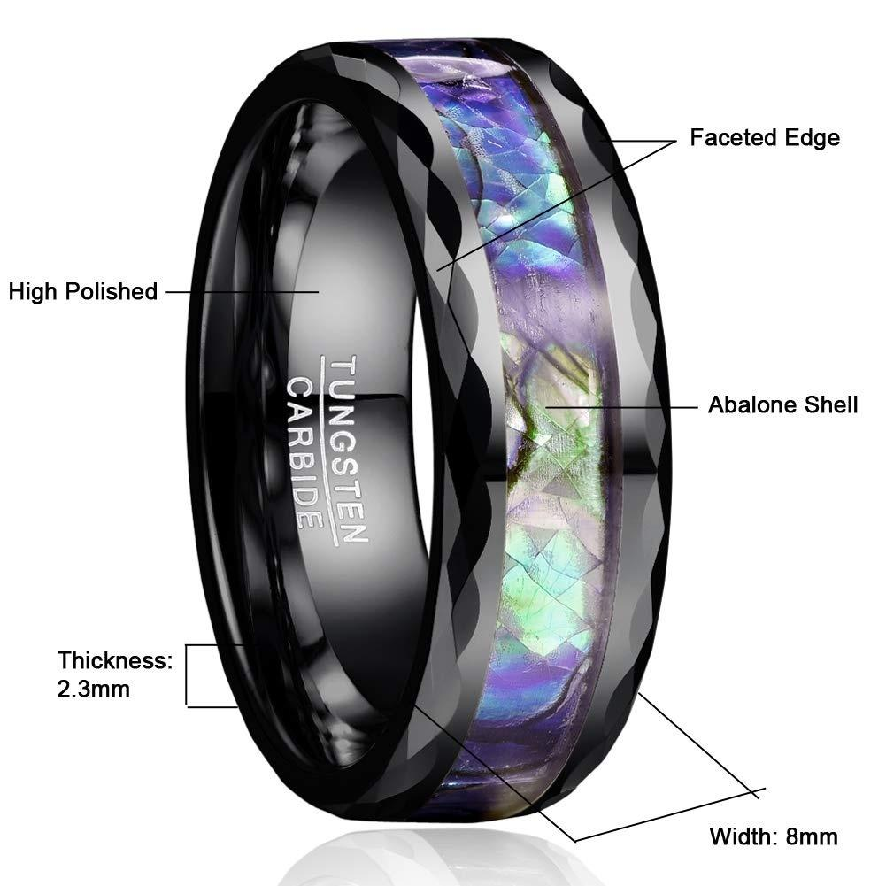 8mm Wood and Abalone Shell Tungsten Carbide Rings Wedding Dome Style Band for Men Comfort Fit Size 7 to 12