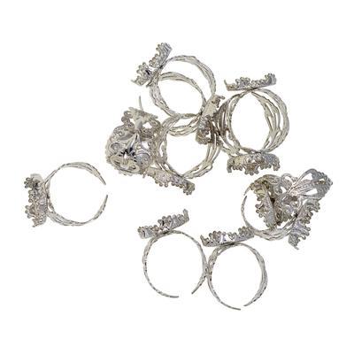 2pcs Adjustable Filigree Finger Ring Blanks Findings15mm Base Pad Silver