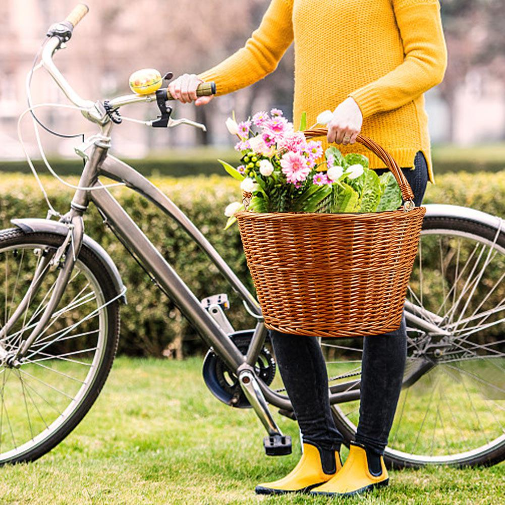 Bicycle Basket Wicker Front Handlebar Bike Cargo Shoppping Basket Storage Box