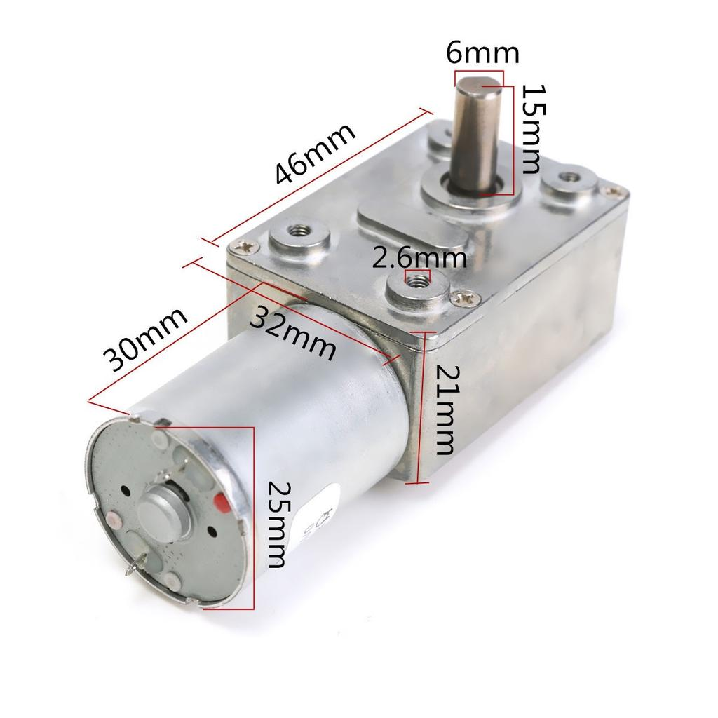 DC 12V 100RPM 9KG.cm High Torque Reversible Turbine Worm Gear Motor Reduction