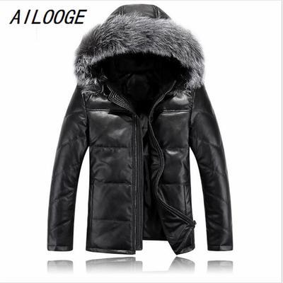 94210ccbf12 Мужские кожаные куртка мех капот хорошего качества мужчины осень вниз  куртка зимняя