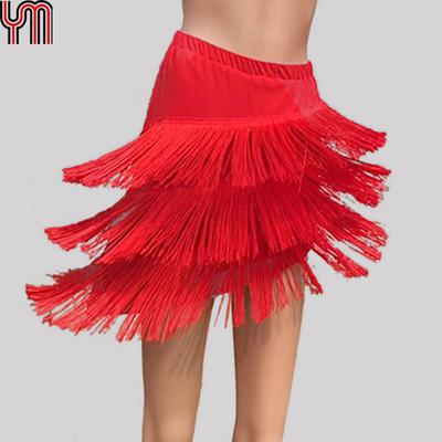 Women/'s Latin Tango Rumba Samba Ballroom Salsa Dance Dress Fringes Tassels Skirt