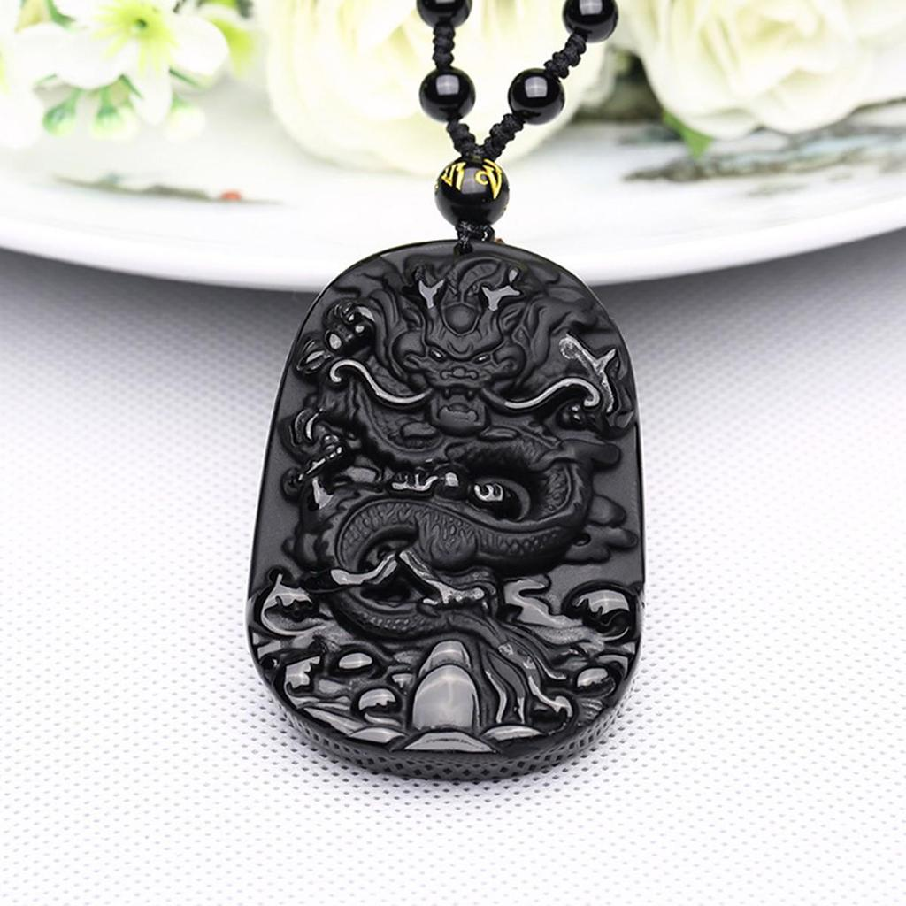 Black Dragon Lucky Blessing Beads Pendant Necklace Natural Obsidian Hand Carved