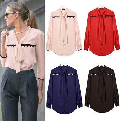 12d66b9c7d Venta primavera otoño mujer camiseta gasa Tops encaje blusa suelta oficina  señoras camisas de manga larga