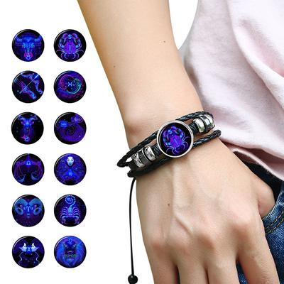 12 Constellation Handmade Leather Bracelet Woven Multi-layer Punk Twelve Zodiac Couple Bracelet