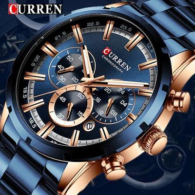 Fashion Men Watches Stainless Steel Top Brand Luxury Sports Chronograph Waterproof Quartz Watch