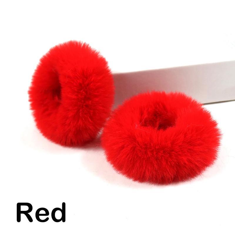 2Pcs Girls Elastic Fluffy Faux Fur Furry Scrunchie Hair Ring Rope Band Soft Cute