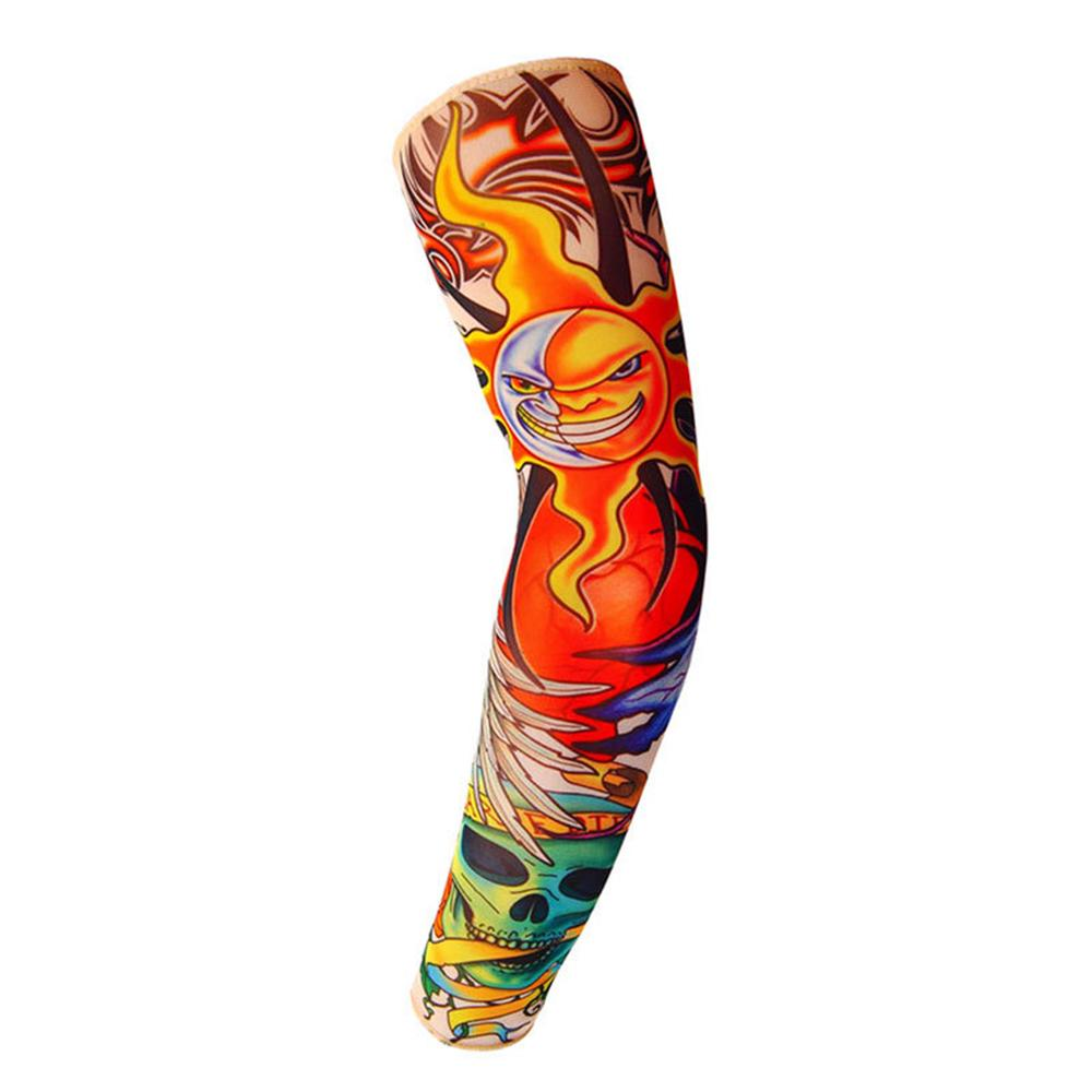 SHOUBANG Cycling Sport 3D Tattoo Armwarmers Uv Block Cool Arm Sleeves Cover Sun Protection Skull Bike Bicycle Arm Warmer