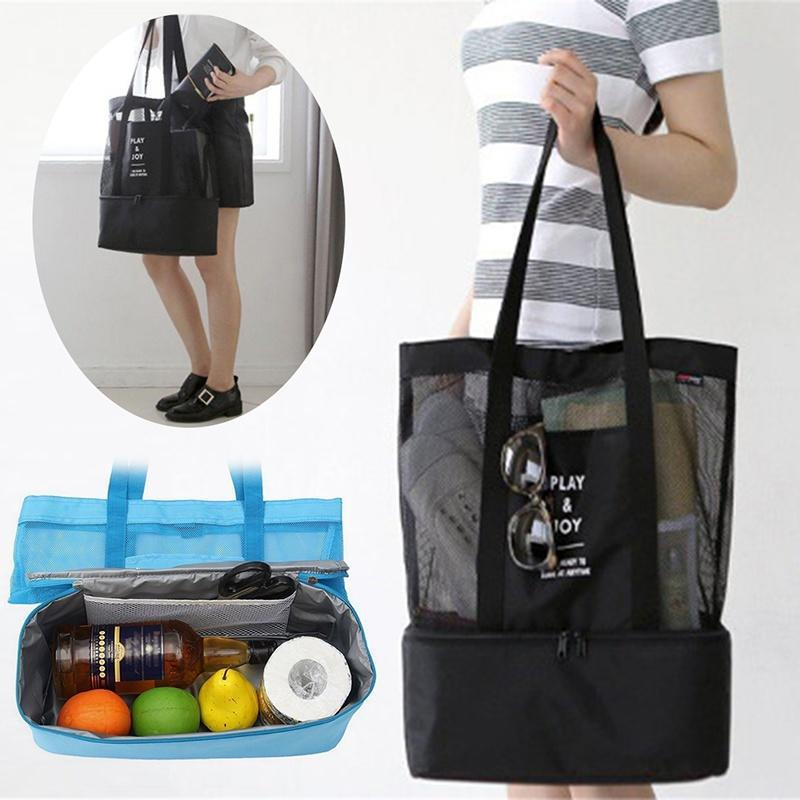 1pc Beach Bags Potable Large Capacity Net Durable Backpack Storage Bag Mesh Bags Mesh Tote For Camping Outdoor Beach Home Storage & Organization