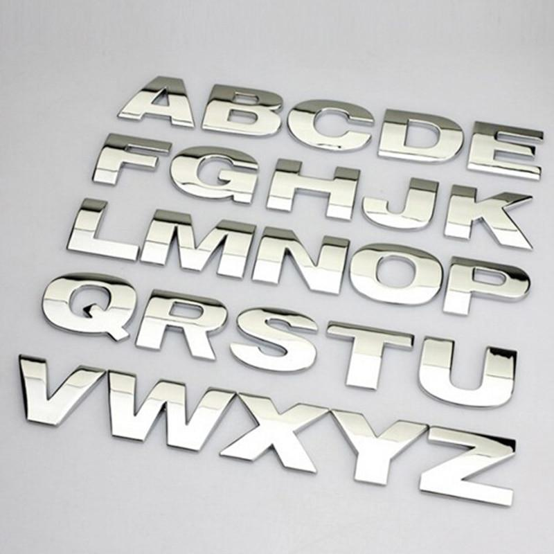 3D DIY Metallic Alphabet//Number Sticker Car Emblem Letter Badge Decal Auto Kit