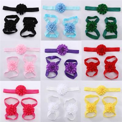 Newborn Baby Girl Kid Infant Headband Foot Flower Elastic Hair BandAccessoriesPV
