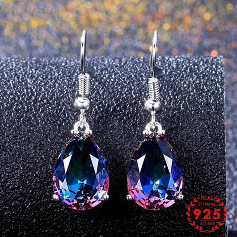 Cute earrings Blue rhinestone drop earrings Blue tear drop dangle earrings Water drop drop earrings