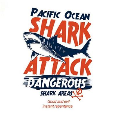 Street Icon Women Men Clothes Pacific Ocean Shark Iron Transfer Printing Patches  Clothing T Shirt