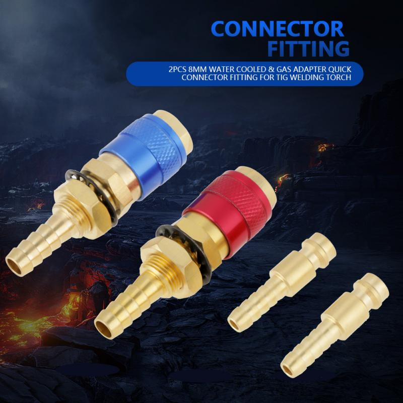 Gas Adapter Welding Quick Connector TIG Torch Water Cooled 2pcs Red Fitting