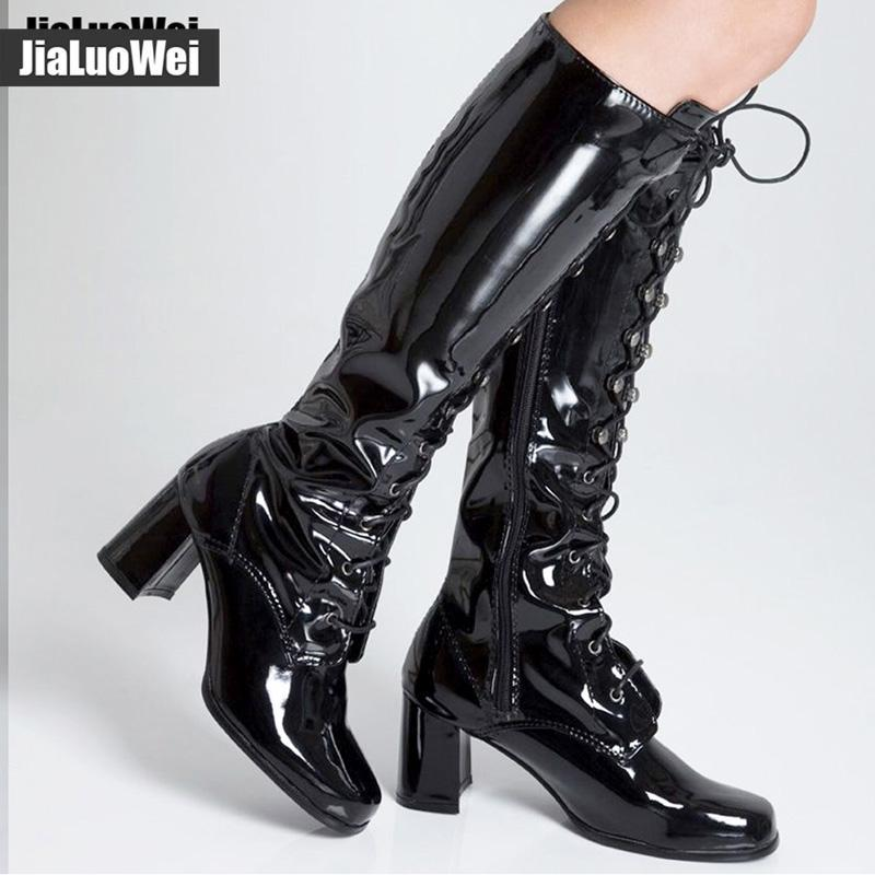 Women/'s Patent Leather Block Med Heels Ankle Boots Casual Square Toe Zipper Shoe