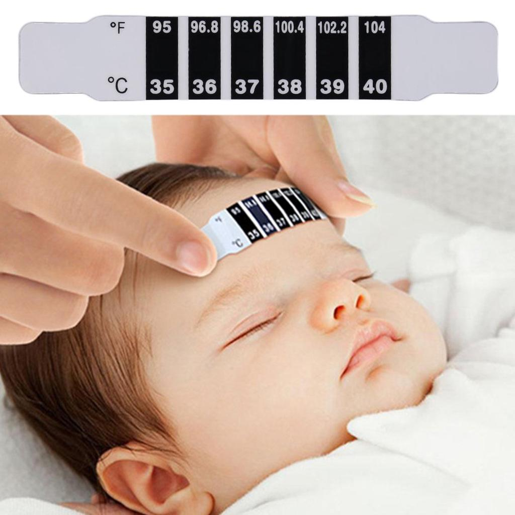 10Safe Infant Kid Baby Forehead Strip Head Temperature Test Thermometer Stick ZF