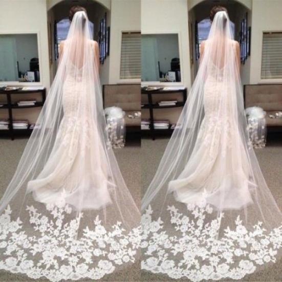 Ivory White Bridal Veils Wrist Length Wedding Veil 2 Layer Ribbon Edge With Comb