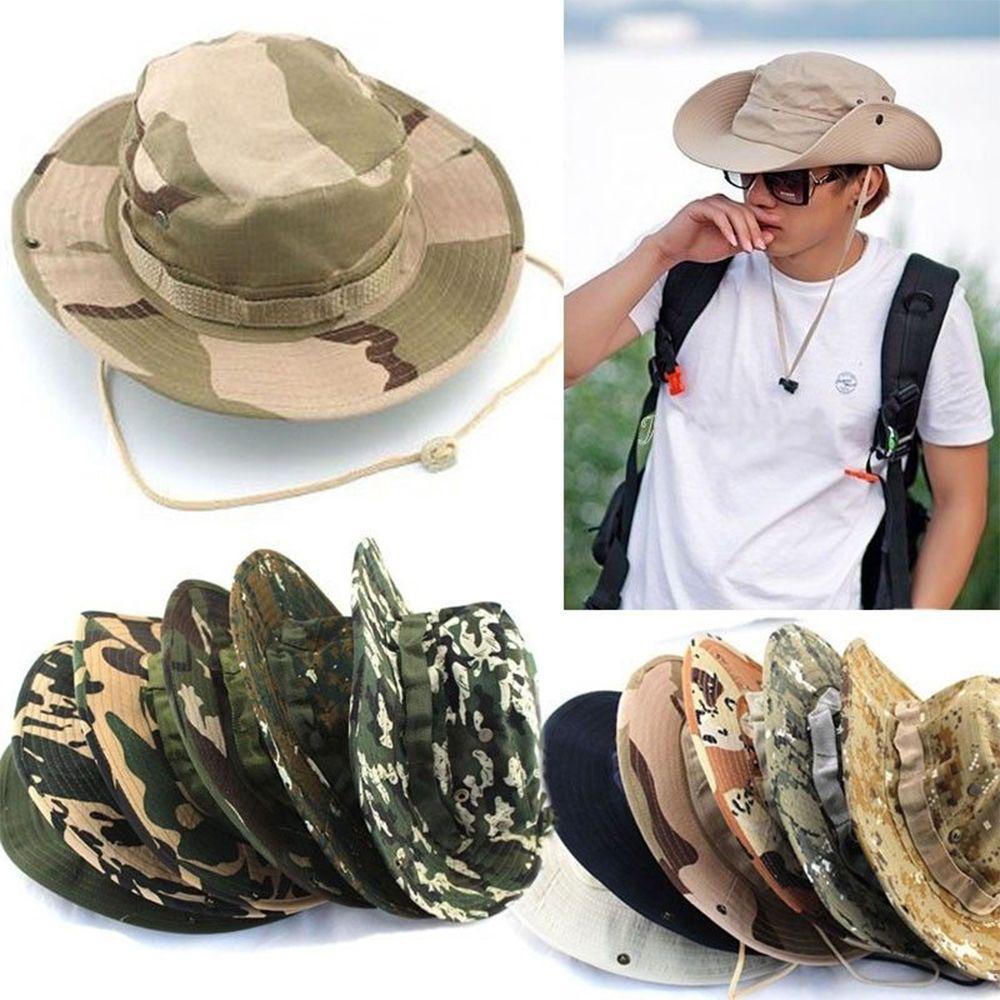 Fishing Cowboy Wide Brim Visor Camo Sun Men Cap Bucket Hat Military Tactics