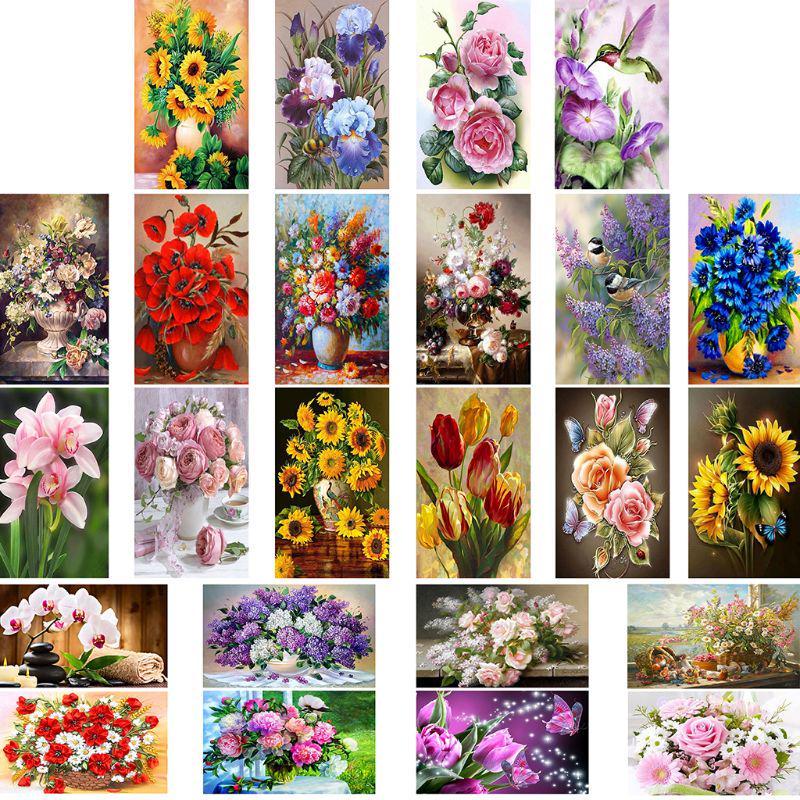 Flowers Full Drill 5D Diamond Painting Handicraft Embroidery Cross Stitch Kits