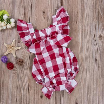 Kids Baby Toddler Girl Cotton Plaids Checks Romper Bodysuit Jumpsuit Playsuit With Headband