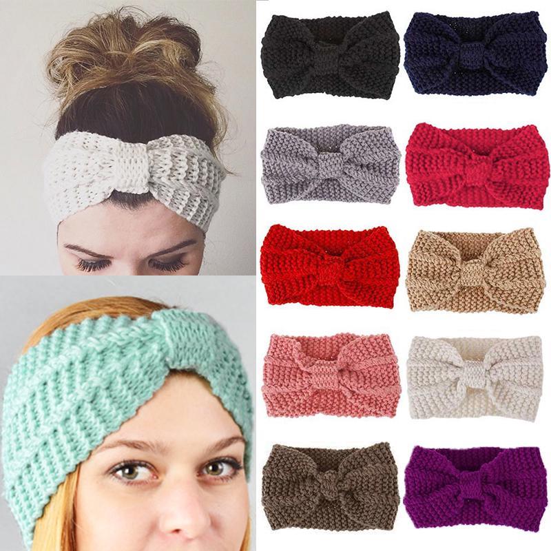 Warmer Knitted Hairband Winter Headwrap Crochet Headband Women Ladies Bowknot