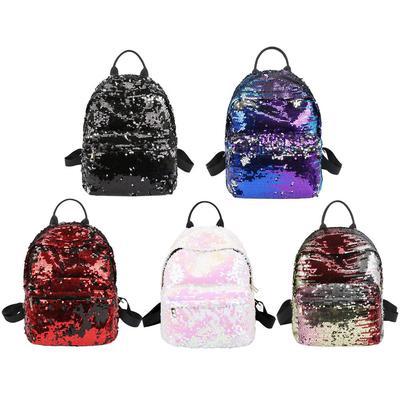 Sequin Heart Print Travel Backpacks Teenage Girl School Women Shoulder Bags //Neu