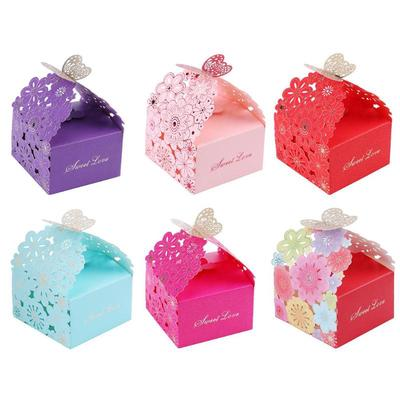 10pcs Paper Hollow Butterfly Candy Boxes Wedding Birthday Party Favors Gift Bags