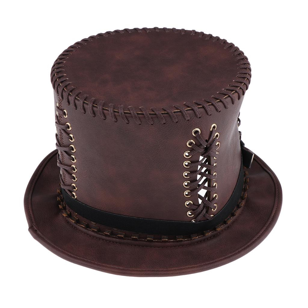 Adults Steampunk Victorian Gothic Halloween Fancy Dress Brown Hat Accessory  Fun