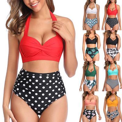 wuliLINL Ladies Halter High Waist Strap Printed Split Swimsuit Bikini