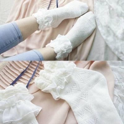 1 Pair Retro Winter Warm Women Lace Ruffle Frilly Ankle Lace