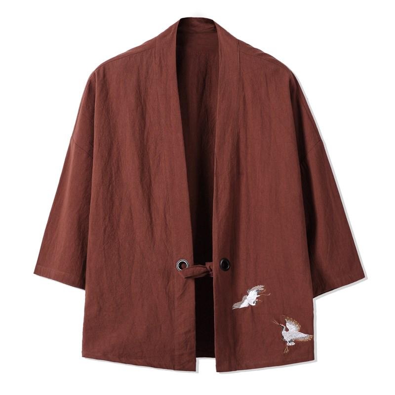 Pamuk Keten Siyah Kirmizi Mavi Yesil Kimono Ceket Kimono Erkek
