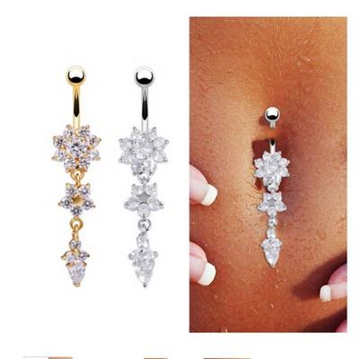 Navel Flower Opal Belly Button Ring Barbell Rhinestone Crystal Piercing Jewelry